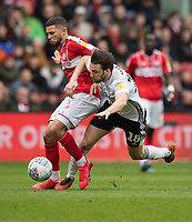Bristol City's Nakhi Wells (left) holds off the challenge from  Fulham's Harry Arter (right) <br /> <br /> Photographer David Horton/CameraSport<br /> <br /> The EFL Sky Bet Championship - Bristol City v Fulham - Saturday 7th March 2020 - Ashton Gate Stadium - Bristol<br /> <br /> World Copyright © 2020 CameraSport. All rights reserved. 43 Linden Ave. Countesthorpe. Leicester. England. LE8 5PG - Tel: +44 (0) 116 277 4147 - admin@camerasport.com - www.camerasport.com