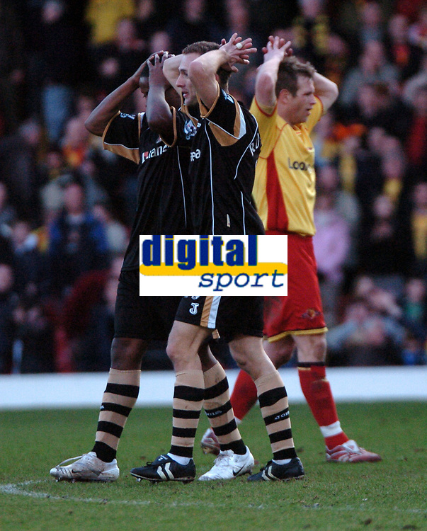 Photo: Tony Oudot.<br />Watford v Charlton Athletic. The Barclays Premiership. 03/03/2007.<br />Watford and Charlton players hold their heads at the final whistle after a draw saw both sides doomed for relegation