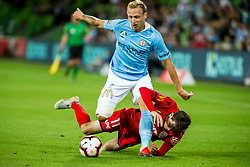 February 9, 2019 - Melbourne, VIC, U.S. - MELBOURNE, AUSTRALIA - February 09 : Craig Goodwin of Adelaide United  and Ritchie de Laet of Melbourne City  contest the ball during round 18 of the Hyundai A-League Series between Melbourne City and Adelaide United on February 9 2019, at AAMI Park in Melbourne, Australia. (Photo by Jason Heidrich/Icon Sportswire) (Credit Image: © Jason Heidrich/Icon SMI via ZUMA Press)