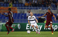 Uefa Champions League-2014-2015 / Group E / <br /> As Roma vs Fc Bayern Munich 1-7  ( Olympic Stadium, Roma - Italy ) <br /> Arjen Robben of Fc Bayern Munich (Middle) challenges with Mapou Yanga-Mbiwa (L) ,<br /> and Jose Holebas of As Roma (R) , during the match between As Roma and Fc Bayern Munich