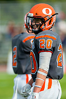 KELOWNA, BC - OCTOBER 6: Tyler Going #20 of Okanagan Sun stands on the field against the VI Raiders at the Apple Bowl on October 6, 2019 in Kelowna, Canada. (Photo by Marissa Baecker/Shoot the Breeze)