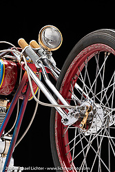 Fred Cuba's Red Wheel, an Ironhead Sportster, built in 1983. Photographed by Michael Lichter in Sturgis, SD.  August 3, 2020. ©2020 Michael Lichter