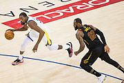 Golden State Warriors forward Kevin Durant (35) attacks the basket against Cleveland Cavaliers forward LeBron James (23) during Game 1 of the NBA Finals at Oracle Arena in Oakland, Calif., on May 31, 2018. (Stan Olszewski/Special to S.F. Examiner)