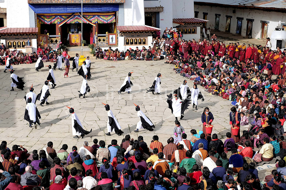 """Children from Bayta primary school perform the Black-necked Crane dance """"Ngachey Thrung Thrung Detshu"""" at Gangte Goemba, Phobjikha Valley, Bhutan. Every year on November 11th, the local community hosts the Black-necked Crane festival at Gangte Goemba, to highlight its significance to the valley. Phobjikha Valley is the most significant overwintering ground of the rare and endangered Black-necked Crane in Bhutan."""