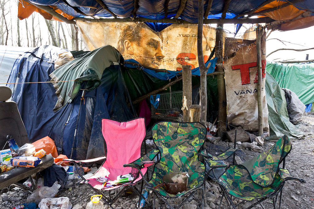 On the outskirts of Dunkirk in Northern France, opposite a relatively new housing estate and yards away from a modern garden center and outdoor clothing retailer Decathlon, sits the isolated and solitary remains of France's 'forgotten migrant camp' -- Grande-Synthe.<br /> April 2016