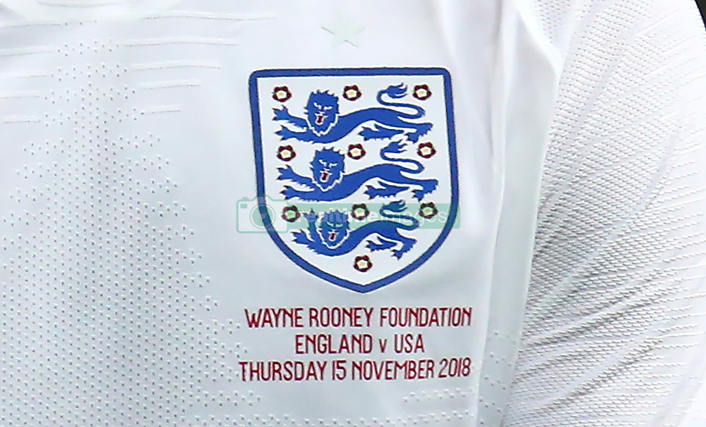 November 15, 2018 - London, United Kingdom - Detail of the match day shirt .during the friendly soccer match between England and USA at the Wembley Stadium in London, England, on 15 November 2018. (Credit Image: © Action Foto Sport/NurPhoto via ZUMA Press)