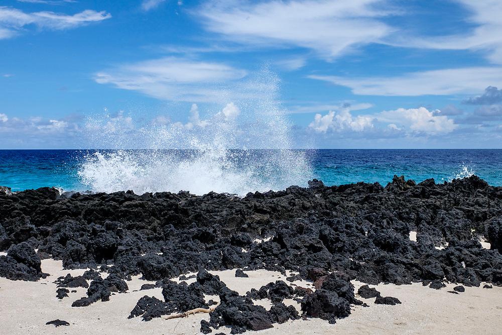 Where the lava rock meets the sea.