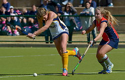 Carienke Jacobs(Vice Captain) of Oranje and Paige Kirby of St Stithians during day one of the FNB Private Wealth Super 12 Hockey Tournament held at Oranje Meisieskool in Bloemfontein, South Africa on the 6th August 2016<br /> <br /> Photo by:   Frikkie Kapp / Real Time Images