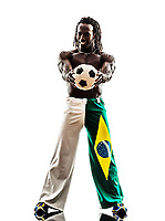 one Brazilian black man soccer player holding showing football on white background