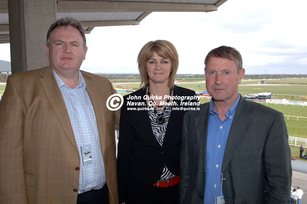 09-04-07. The Powers Whiskey Irish Grand National Steeplechase at Fairyhouse Racecourse.<br /> At the Sherry Fitzgerald reception L to R:<br /> Michael Farrelly, Sherry Fitzgerald. Kathleen Mangan, Athboy. Billy Farrelly, Athboy.<br /> Photo: John Quirkre / www.quirke.ie<br /> ©John Quirke Photography, Unit 17, Blackcastle Shopping Centre, Navan. Co. Meath. (046-9079044/087-2579454).