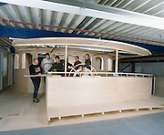 Engineers and captains design a mock-up of the pilot house of Athena, a three masted schooner built by the Royal Huisman Shipyard of Vollenhove, Holland.