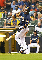 May 8, 2018 - Milwaukee, WI, U.S. - MILWAUKEE, WI - MAY 08: Milwaukee Brewers Second base Jonathan Villar (5) tries to unsuccessfully will a ball fair during a MLB game between the Milwaukee Brewers and Cleveland Indians on May 8, 2018 at Miller Park in Milwaukee, WI. The Brewers defeated the Indians 3-2.(Photo by Nick Wosika/Icon Sportswire) (Credit Image: © Nick Wosika/Icon SMI via ZUMA Press)
