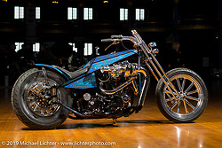 Dan Rognsvoog's 1972 turbo digger style  Shovelhead built to commemorate 20 years of custom bike building at the Mama Tried Show. Milwaukee, WI. USA. Friday February 23, 2018. Photography ©2018 Michael Lichter.