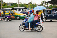 Family on motorbike, Thailand