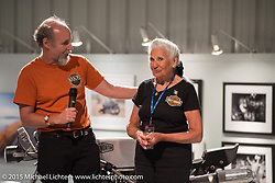 """Michael Lichter wishes Gloria Struck, who turned 90 last month, a happy birthday during the industry party for the Motorcycles as Art show titled """"The Naked Truth"""" at the Buffalo Chip. SD, USA.  August 2, 2015.  Photography ©2015 Michael Lichter."""