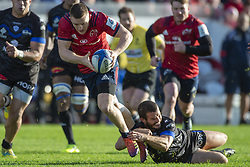 December 9, 2018 - Limerick, Ireland - Andrew Conway of Munster tackled by Taylor Paris of Castres during the Heineken Champions Cup Round 3 match between Munster Rugby and Castres Qlympique at Thomond Park Stadium in Limerick, Ireland on December 9, 2018  (Credit Image: © Andrew Surma/NurPhoto via ZUMA Press)