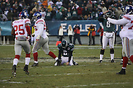 PHILADELPHIA - DECEMBER 9: David Akers #2 of Philadelphia Eagles falls to the ground as his field goal attempt proves to be unsuccesful in the last seconds of play against the New York Giants on December 9, 2007 at Lincoln Financial Field in Philadelphia, Pennsylvania. The Giants won 16-13.