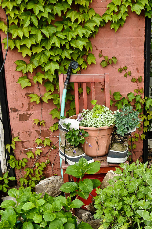Shoes with plants on the garden of a house of Red Hook, Brooklyn