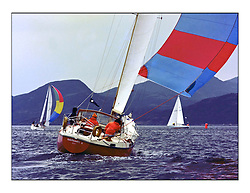 The Clyde Cruising Club's 1977 Tomatin Trophy the first Scottish Series held at Tarbert Loch Fyne.  An overnight race from Gourock to Campbeltown then on to Olympic Triangles in Loch Fyne. ..571C Salamander II John Corson, .