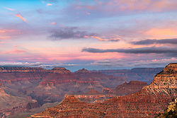 A pink sunset enhances the already amazing landscape of the Grand Canyon of Northern Arizona