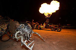 Stock photo of a motorcycle car shooting flames from the top