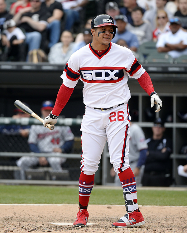 CHICAGO - APRIL 09:  Avisail Garcia #26 of the Chicago White Sox bats against the Minnesota Twins on April 9, 2017 at Guaranteed Rate Field in Chicago, Illinois.  (Photo by Ron Vesely)   Subject:  Avisail Garcia