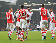 Arsenal's Danny Welbeck celebrates scoring his sides opening goal with Santi Cazorla<br /> <br /> Barclays Premier League- West Bromwich Albion vs Arsenal - The Hawthorns - England - 29th November 2014 - Picture David Klein/Sportimage