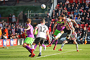 Sheffield Utd forward Scott Hogan (11) puts this ;late chance over the bar during the EFL Sky Bet Championship match between Sheffield United and Bristol City at Bramall Lane, Sheffield, England on 30 March 2019.