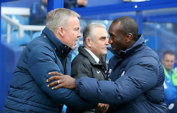 Wolverhampton Wanderers Manager, Kenny Jackett ( L ) and Manager of Queens Park Rangers, Jimmy Floyd Hasselbaink shake hands before the match - Mandatory byline: Paul Terry/JMP - 23/01/2016 - FOOTBALL - Loftus Road - London, England - QPR v Wolves - Sky Bet Championship