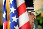 03 MAY 2007 -- PHOENIX, AZ:  An Air Force ROTC Honor Guard at the National Day of Prayer in Phoenix, AZ, City Hall. National Day of Prayer observances in Phoenix, Arizona, City Hall building Thursday. The National Day of Prayer was established in in 1952 when a  bill proclaiming an annual National Day of Prayer (NDP) was unanimously passed by both houses of congress. President Truman signed it into law. It required the President to select a day for national prayer each year. In 1988, the NDP was fixed as the first Thursday in May.  PHOTO BY JACK KURTZ