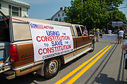 A group advocating for a convention of states to amend the Constitution participates in the Independence Day parade in Millville, Pennsylvania on July 5, 2021.