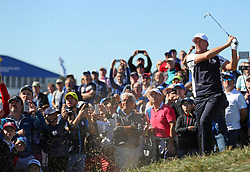 Team Europe's Ian Poulter chips from the rough during preview day three of the Ryder Cup at Le Golf National, Saint-Quentin-en-Yvelines, Paris.