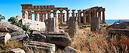 Fallen column drums of Greek Dorik Temple ruins  Selinunte, Sicily photography, pictures, photos, images & fotos. 58 Greek Dorik Temple columns of the ruins of the Temple of Hera, Temple E, Selinunte, Sicily .<br /> <br /> If you prefer to buy from our ALAMY PHOTO LIBRARY  Collection visit : https://www.alamy.com/portfolio/paul-williams-funkystock/selinuntetemple.html<br /> Visit our CLASSICAL WORLD HISTORIC SITES PHOTO COLLECTIONS for more photos to buy as buy as wall art prints https://funkystock.photoshelter.com/gallery-collection/Classical-Era-Historic-Sites-Archaeological-Sites-Pictures-Images/C0000g4bSGiDL9rw
