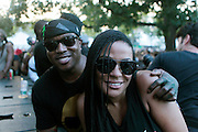 """August 27, 2016- Brooklyn, New York-United States: (L-R) Publisher Chuck Creekmur and DJ Beverly Bond, Founder, Black Girls Rock! attend the 2016 AfroPunk Brooklyn Concert Series held at Commodore Barry Park on August 27, 2016 in Brooklyn, New York City. Described by some as """"the most multicultural festival in the US,"""" which includes an eclectic line-up and an audience as diverse as the acts they come to see. (Photo by Terrence Jennings/terrencejennings.com)"""