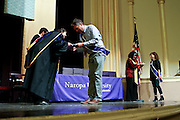 SHOT 5/10/15 3:10:33 PM - Naropa University Spring 2015 Commencement ceremonies at Macky Auditorium in Boulder, Co. Sunday. Parker J. Palmer, a world-renowned author and activist known for his work in education and social change, delivered the commencement speech to more than 300 graduate and undergraduate students along with Naropa faculty and graduate's family members. Naropa University is a private liberal arts college in Boulder, Colorado founded in 1974 by Tibetan Buddhist teacher and Oxford University scholar Chögyam Trungpa. (Photo by Marc Piscotty / © 2014)