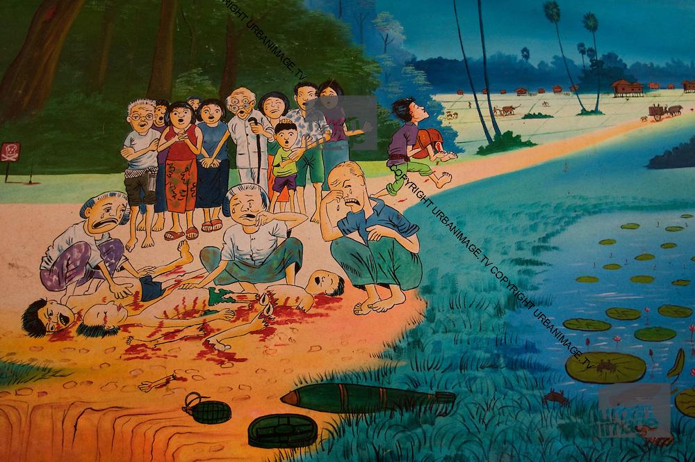 Painting of battle at Angkor Wat - Cambodia Vietnam war