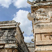 Details of decorations of buildings at Chichen Itza, Mexico.