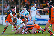 Widnes Vikings prop Jay Chapelhow (25) is stopped by the Castleford Tigers  players during the Betfred Super League match between Castleford Tigers and Widnes Vikings at the Jungle, Castleford, United Kingdom on 11 February 2018. Picture by Simon Davies.