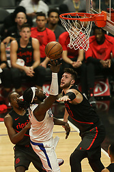 December 17, 2018 - Los Angeles, CA, U.S. - LOS ANGELES, CA - DECEMBER 17: Los Angeles Clippers Center Montrezl Harrell (5) shooting in the paint during the Portland Trail Blazers at Los Angeles Clippers NBA game on December 17, 2018 at Staples Center in Los Angeles, CA.. (Photo by Jevone Moore/Icon Sportswire) (Credit Image: © Jevone Moore/Icon SMI via ZUMA Press)