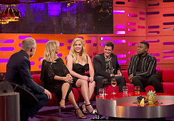 (left to right) Host Graham Norton, Goldie Hawn, Amy Schumer, Orlando Bloom and John Boyega during the filming of the Graham Norton Show at The London Studios, to be aired on BBC One on Friday.