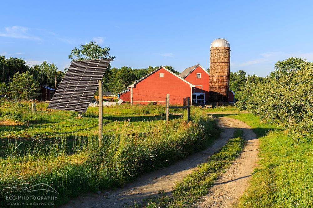 Solar panels and the barn at the Sullivan Farm in Nashua, New Hampshire.