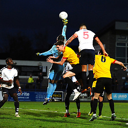 TELFORD COPYRIGHT MIKE SHERIDAN 1/12/2018 - Shane Sutton battles for a header with Steven Drench watched on by Dan Udoh of AFC Telford during the Vanarama Conference North fixture between AFC Telford United and Bradford Park Avenue AFC.