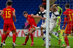 CARDIFF, WALES - Wednesday, November 18, 2020: Wales' Rhys Norrington-Davies clears the ball during the UEFA Nations League Group Stage League B Group 4 match between Wales and Finland at the Cardiff City Stadium. Wales won 3-1 and finished top of Group 4, winning promotion to League A. (Pic by David Rawcliffe/Propaganda)