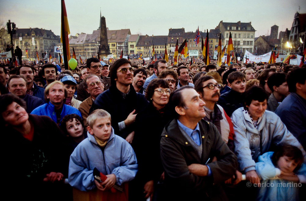 1989, Erfurt. A political meeting for the first free elections in DDR where West Germany's Helmuth Kohl asked for the German Reunification.