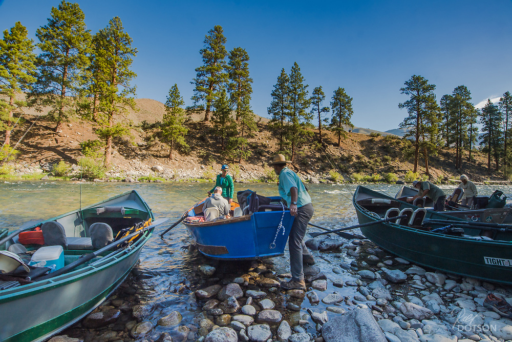 Making their way out of the shute first, Brandon and Rochelle Hoffner of the Henry's Fork Foundation prepare to start another gorgeous day on the water.