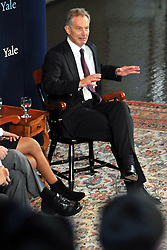 Tony Blair at Yale University speaking with President Richard Levin, Paul Kennedy & Lita Tandon '10 on Sept. 19, 2008 in Woolsey Hall.