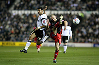 Photo: Pete Lorence.<br />Derby County v Queens Park Rangers. Coca Cola Championship. 13/03/2007.<br />Danny Cullip flicks the ball from Giles Barnes.
