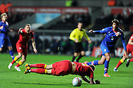 Joe Ledley of Wales is fouled by Croatia's Dejan Lovren  (out of pic) and a penalty is awarded. FIFA World cup 2014 qualifier, group A , Wales v Croatia at the Liberty Stadium in Swansea, South Wales on Tuesday 26th March 2013. pic by Andrew Orchard, Andrew Orchard sports photography,