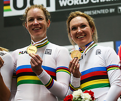 March 2, 2019 - Pruszkow, Poland - Kirsten Wild and Amy Pieters of the Netherlands celebrate winning the gold medal in Women's Madison the on day four of the UCI Track Cycling World Championships held in the BGZ BNP Paribas Velodrome Arena on March 02 2019 in Pruszkow, Poland. (Credit Image: © Foto Olimpik/NurPhoto via ZUMA Press)