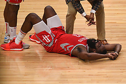 October 21, 2018 - Los Angeles, CA, U.S. - LOS ANGELES, CA - OCTOBER 21: Houston Rockets Guard James Harden (13) looks on in pain after a foul during a NBA game between the Houston Rockets and the Los Angeles Clippers on October 21, 2018 at STAPLES Center in Los Angeles, CA. (Photo by Brian Rothmuller/Icon Sportswire) (Credit Image: © Brian Rothmuller/Icon SMI via ZUMA Press)